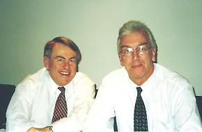 Dr Ron Sandland (left) and Dr Geoff Garrett. Credit: Peter Pockley