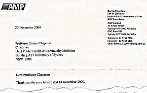 Copy of a portion of the letter from Staunton under AMP letterhead to Prof Simon