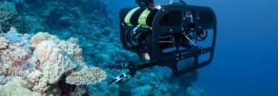 A remote-operated vehicle explores the deep reef. © Catlin Seaview Survey