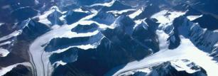 Aerial view of several Himalayan glaciers.