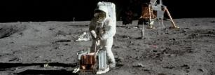 Buzz Aldrin setting up seismic equipment on the Moon in 1969.