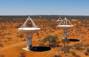 An elevated view of four of CSIRO's new ASKAP antennas at the Murchison Radio-As