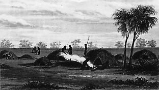 Aboriginal village near the NSW/SA border in the 1840s.
