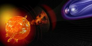 Illustration of events on the Sun changing the conditions in near-Earth space. Credit: NASA