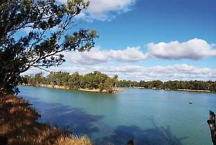 The confluence of the Murray and Darling rivers at Wentworth, NSW.