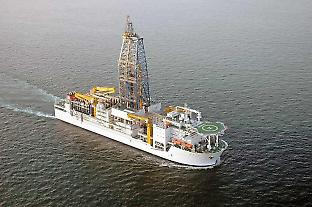 The Japanese deep-drilling vessel DV Chikyu can core up to 4000 metres below the seabed and in areas where there is a potential danger of striking oil or gas. Photo courtesy of the Japan Agency for Marine–Earth Science and Technology