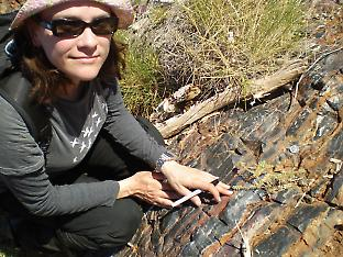 Michaela Partridge examining a banded iron formation from the Archean.