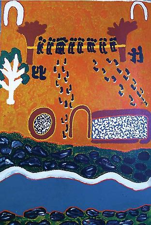 The painting shows Aboriginal prisoners chained between two trees. The four figures hold guns. The footsteps end at the well and goatyard, and contain fragmented bone. The white line and black stones represent the milky coloured water of Sturt Creek. The black stones along the banks are cormorants. Credit: Launa Yoomarri/Daisy Kungah under direction of Clancy and Speiler Sturt. Permission given by the artists at a meeting with the Custodians at Billiluna