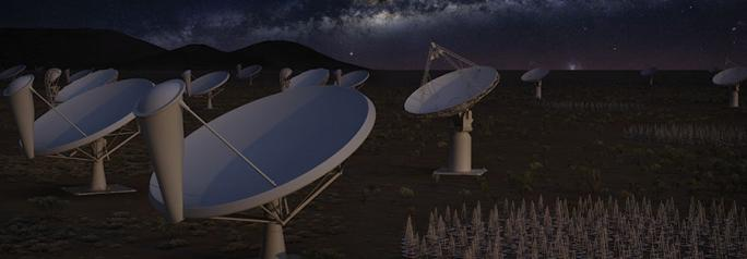 The first phase of the Square Kilometre Array at night.