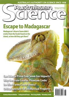 October 2012 cover of Australasian Science magazine