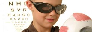 Image of child wearing cataract goggles