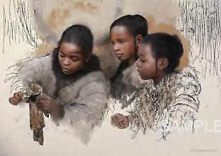 Reconstruction of three Palaeolithic girls playing with a doll. Painted by Tom Björklund