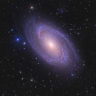 Messier 81 (also known as NGC 3031 or Bode's Galaxy) is a barred spiral galaxy in the constellation Ursa Major 11.4 million light years away. The pitch angle of its spiral arms is 13.4°, which correlates with the black hole at its centre being 67.6 million times more massive than our Sun. Credit: © Ken Crawford http://www.imagingdeepsky.com/Galaxies/