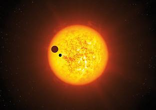 A planet/moon transit that may be imaged by NASA's Kepler spacecraft.