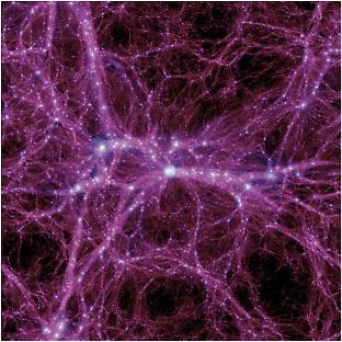 The results of a computer simulation of a cold dark matter universe.