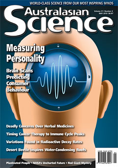 Australasian Science Magazine cover image May 2010